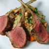 Lamb chops over butternut squash risotto